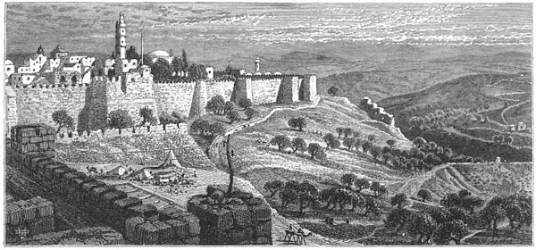 Old Jerusalem 102 Hinnom SW portion of wall, Dome of Rock partially visible inside the wall, unexcavated City Of David outside of wall (underground) 1800s (Ottoman territory)