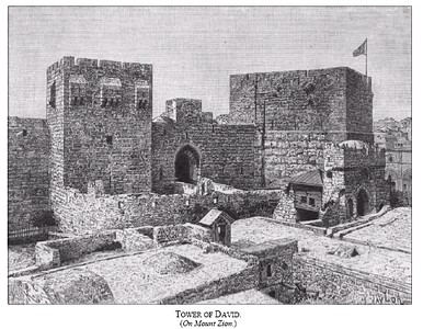 Old Jerusalem Tower of David 1800s -- Built by the Byzantines (Ottoman territory)