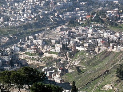 City of David from northeast (extending from the southwest corner of the Old City at far right (outside of photo), tb012603203