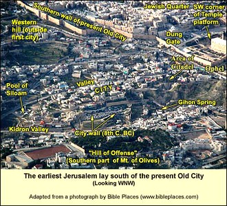 "City of David, labeled ""CITY"" (now covered by Arab homes with excavation appearing) aerial from east (netours)"
