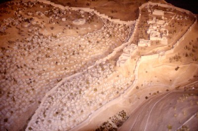 Jerusalem - City of David at the time of Solomon (model aerial view from Southeast), temple complex in upper right section of photo (levitt.com)