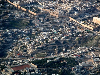 City of David aerial (close-up) from east (center of photo), Old City above tb010703201