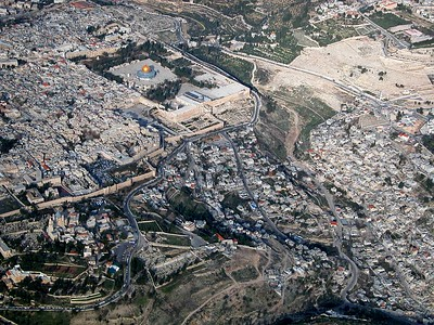 Temple Mount and City of David aerial view from southwest, tb010703234