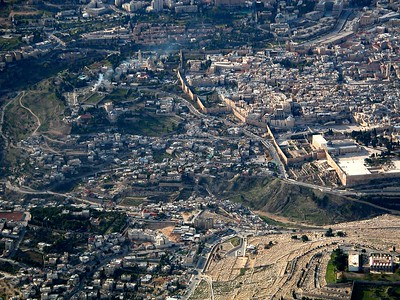 City of David aerial from east (center of photo), extending to the left from next to the last two Old City walls at center right, tb010703202