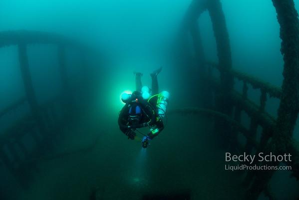 Rebreather Diver Richard on the City of Detroit Shipwreck lake huron