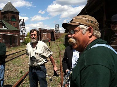Charlie O'Connell, right, provided details about the train tracks and the Pioneer Valley Railroad for which he works.