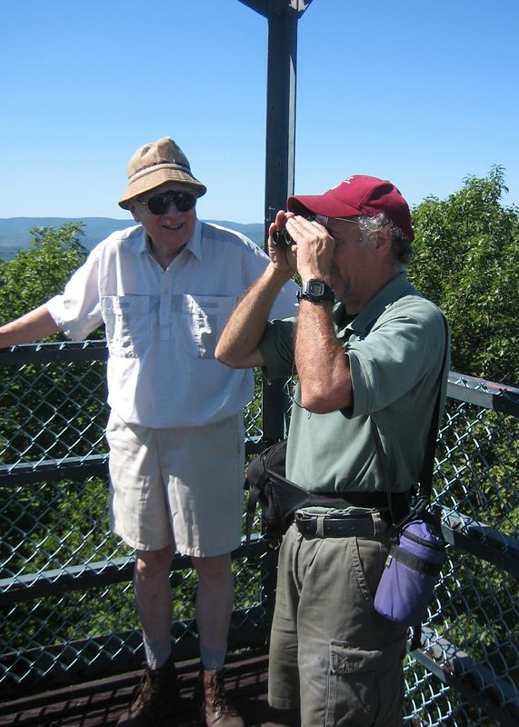 Lookout tower on Goat's Peak. Ted and Jim.
