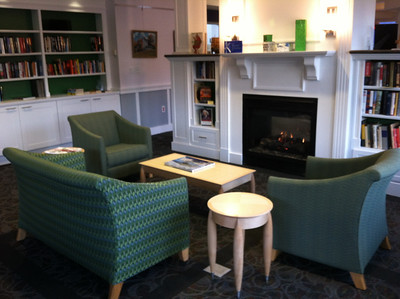 Library reading area with fireplace and comfortable new furniture