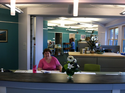We were greeted by a volunteer at the new reception desk, December 3, 2012.