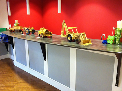 The future snack bar being used to display wooden models, December 2012.