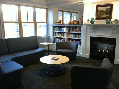 Library area by the fireplace, which faces TWO sides!