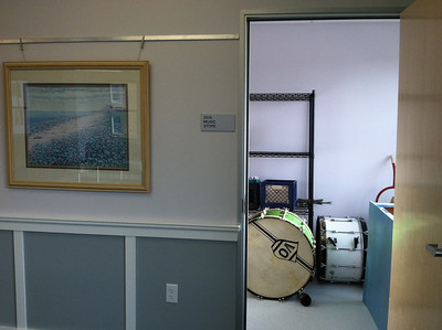The bands now have a storage room with file cabinets for sheet music and space for drums!