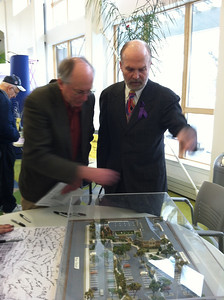 Opening Celebration, Saturday February 23, 2013.  The architect pointing out features of this new building.
