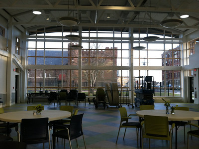 Multipurpose room, with good view of the old Armory.