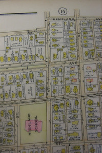 Close-up from 1911 Atlas of next section south along Nonotuck Street, where it runs by the Highland School.  Note dashed line of Electric Car (trolley) route   passing the school on Lincoln Street side.  The Highland Methodist Church is at corner of Lincoln and Nonotuck.