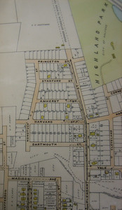 Close-up of 1911 Atlas map showing Trolley line running up Pleasant Street to Princeton St.  Note that very few houses had yet been built  in that development. I suspect that none were built facing that section of Nonotuck until after the road there was renamed Wellesley St.