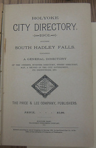 1901 City Directory for Holyoke and So Hadley Falls