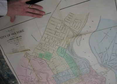 """On this 1896 map, Nonotuck Street seems to extend north across the dingle, though the dashed lines there indicate that section is only a """"proposed"""" street.   The trolley (thicker dashed lines = Electric Car line) runs on Lincoln Street and Northampton Street. (Trolley line on Pleasant Street not yet built.)"""