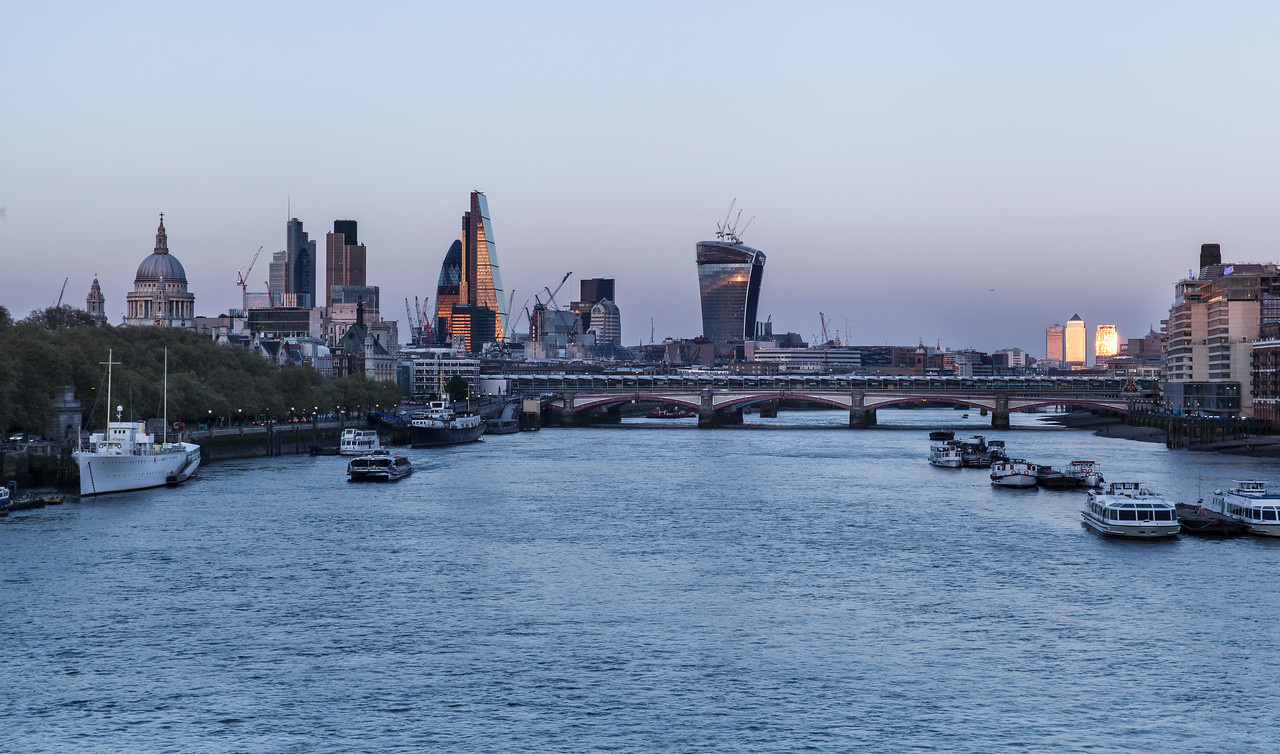 City of London Sunset View from Waterloo Bridge