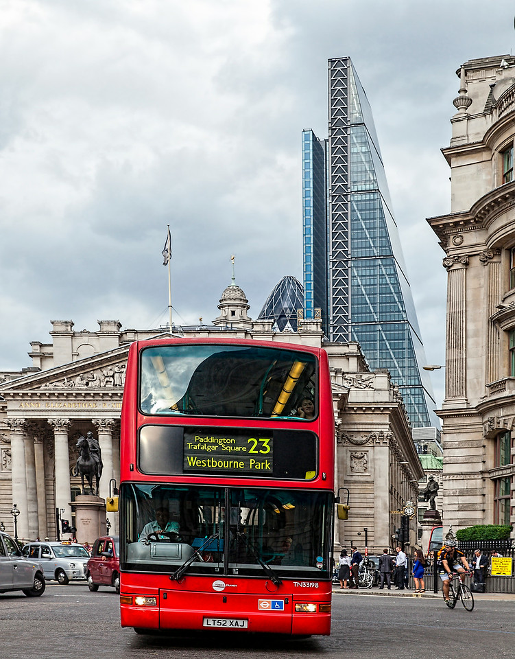 Red London Bus in the City of London