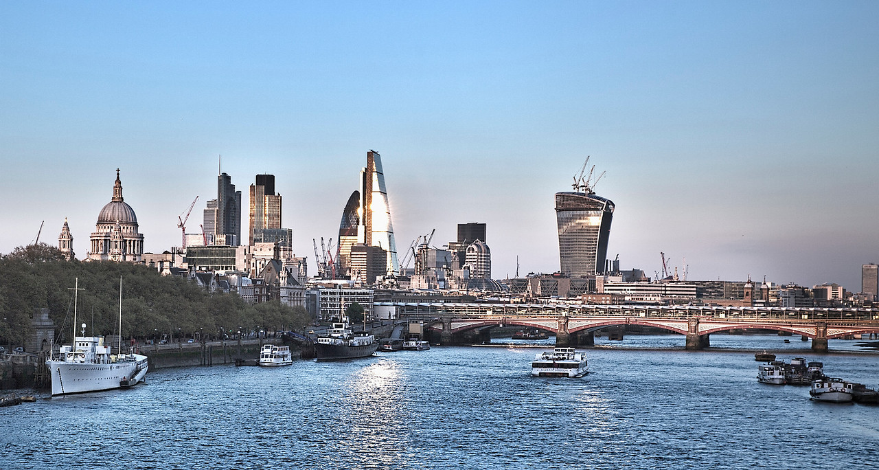 London - panorama of the City of London at sunset