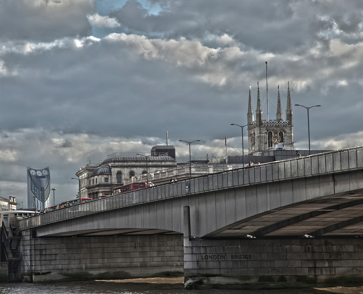 Southwark Cathedral and the Elephant and Castle from London Bridge