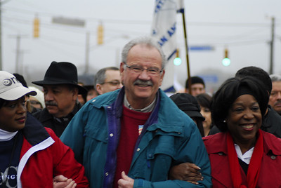 Mayor Harberger leading San Antonio's Dr King March