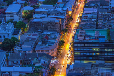 Charoen Krung Road, central Bangkok, viewed from State Tower