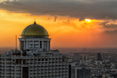 Bangkok's State Tower at sunset, taken from the roof of the JTC building, Silom Road