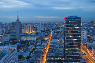 cityscape view down charoen krung road from state tower, bangkok