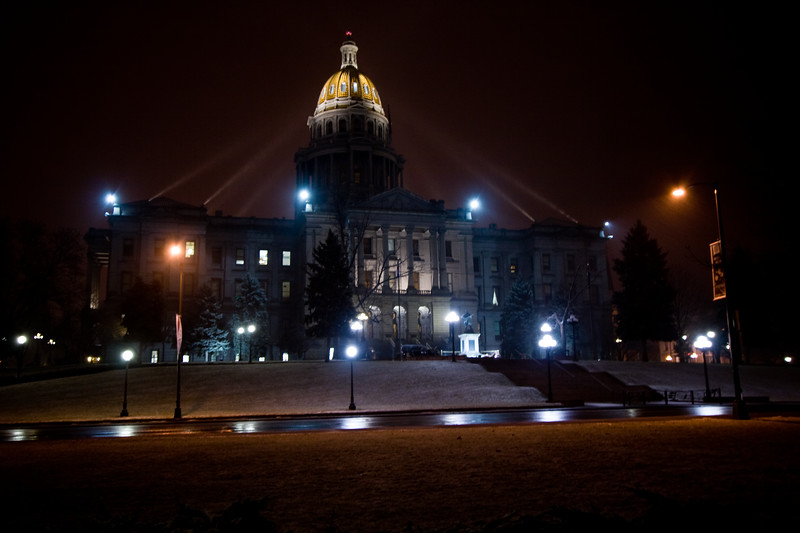 The State Capitol building in Denver during a snow storm :-)  Brrr....