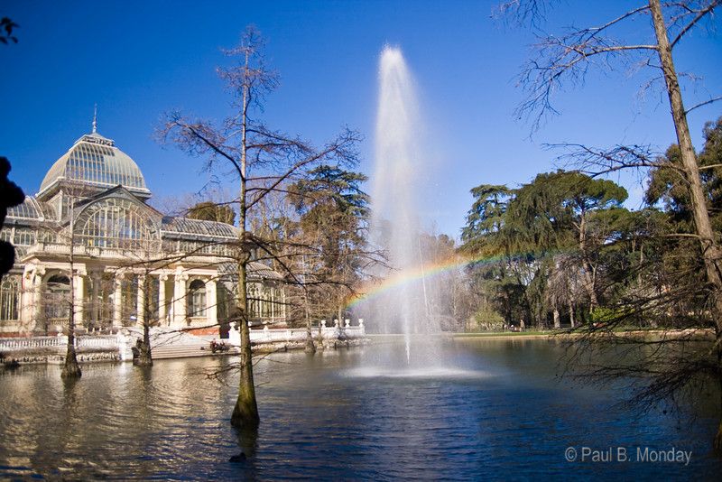 Another view of my obsession with the rainbow created by the fountain, the Crystal Palace and the morning sunlight.