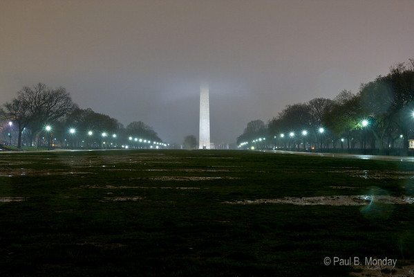 My son, Kai, had me set up and take this picture.  We were walking along the National Mall late at night and he was intrigued by how the Washington Monument reached up into the low-hanging clouds and moisture.  So I set up and took it and sat with it for a while.  What I like about the picture (a full 30 second exposure) is that it conveys the evening perfectly.  Dark, dank, wet, sparse, but quite beautiful.