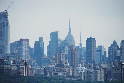 Hazy Manhattan skyline