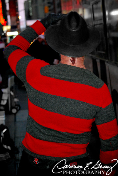 "Freddy Krueger, camera shy? I couldn't believe it.. The only thing that would make him turn around was tips. He actually said, ""Hey, I gotta eat too!""  Who knew he eats. Freddy, I ain't mad at ya just stay out my dreams. I must admit, he looked pretty authentic too, but I didn't carry any cash with me. Oh well,  I'll get ya next time Freddy (insert evil laugh)."