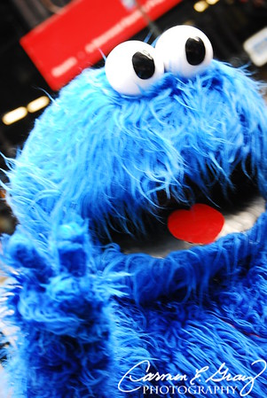 Cookie Monster hanging out in Times Square