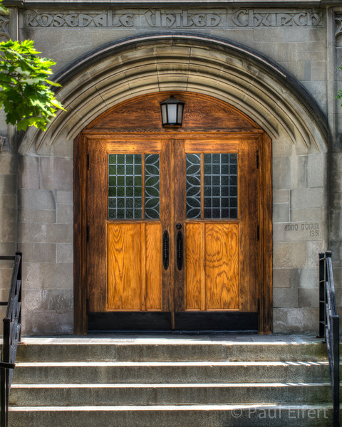 The entrance doors at Rosedale United Church in Montreal, Quebec, Canada