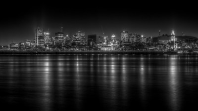 The City of Montreal at night, looking across the St Lawrence river from Parc Jean Drapeau