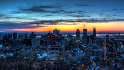 Sliver Moon Over Montreal Skyline