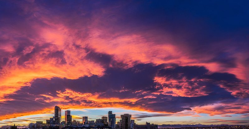 Denver Sunset - Fire Pano