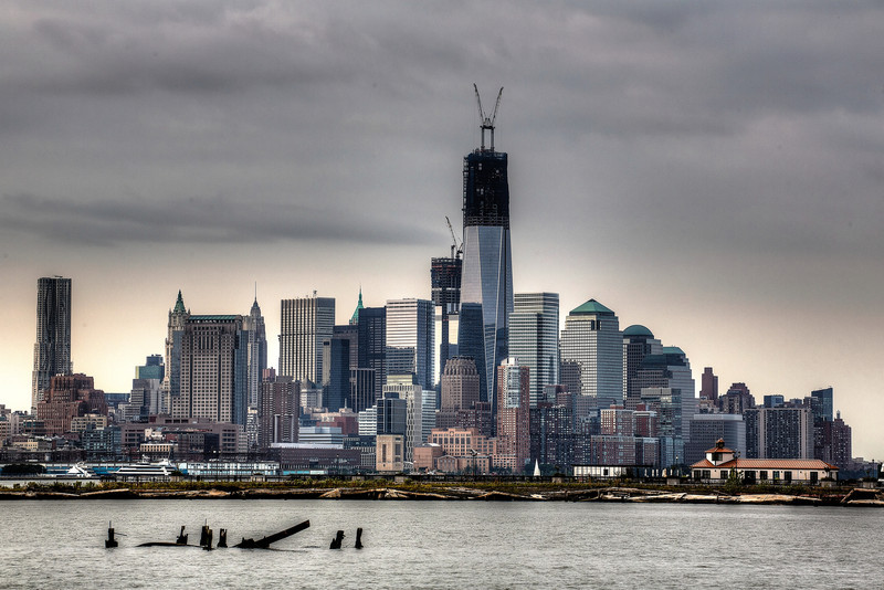 Downtown Manhattan in New York, with One World Trade Center under construction, at over 100 stories
