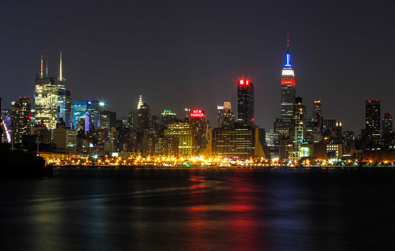 The Manhattan skyline from Lincoln Harbor in Weehawken New Jersey
