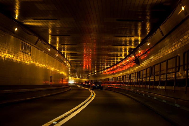 Driving through the Lincoln Tunnel in New York City