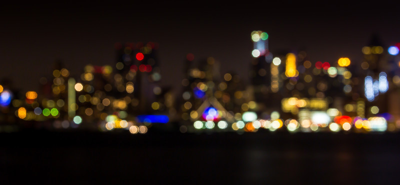 The lights of the Manhattan skyline