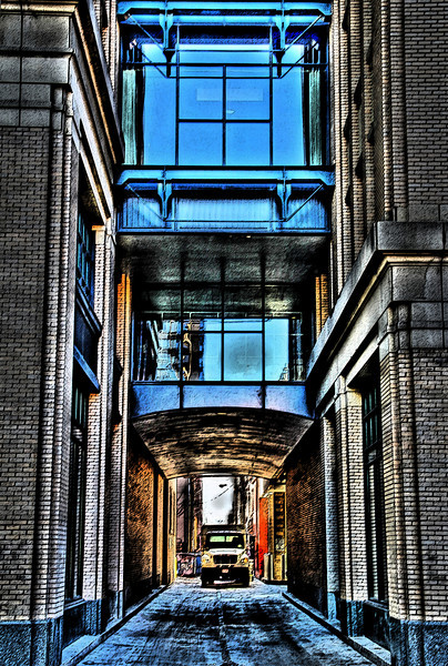 A picture taken by my son (15) of a side street in Denver.  We got a little weird on th processing.  Looks distorted at top.