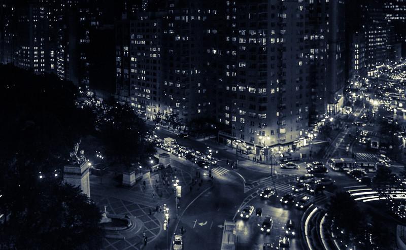 Columbus Circle & Broadway at Night
