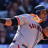 "<a href=""http://giants.mlb.com/team/player.jsp?player_id=516949#gameType='L'§ionType=career&statType=1&season=2012&level='ALL'"">Hector Sanchez</a> - #29 - C<br /> Switch Hitter - Throws Right, Height: 5'11"", Weight: 225, Born: Nov 17, 1989"