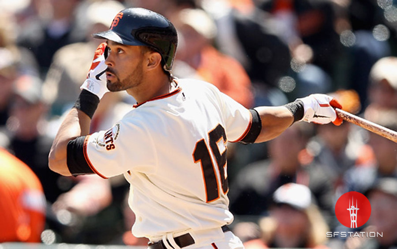 """<a href=""""http://giants.mlb.com/team/player.jsp?player_id=434636#gameType='L'§ionType=career&statType=1&season=2012&level='ALL'"""">Angel Pagan</a> - #16 - CF<br /> Switch Hitter - Throws Right, Height: 6'2"""", Weight: 200, Born: Jul 2, 1981"""
