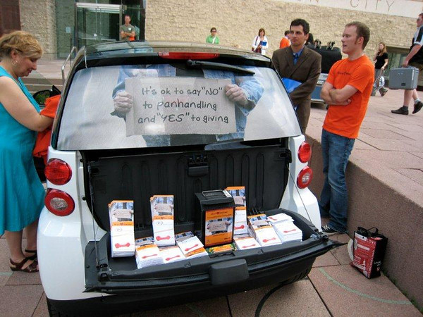 How the Smart Car works as a mobile kiosk -- pamphlets in back