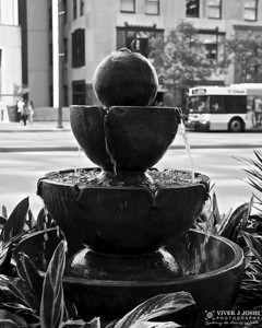 A Small Fountain on the side walks of Magnificent Mile